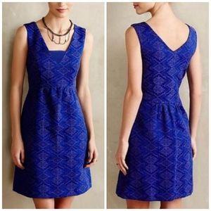 Anthropologie Maeve Blue Averie Aztec Print Dress
